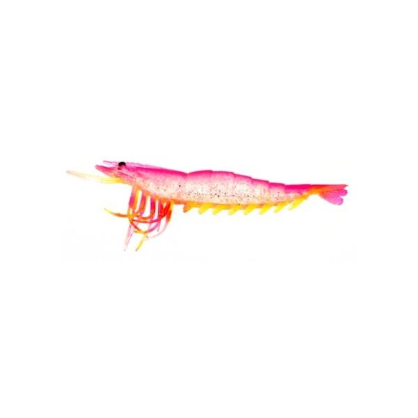 "Almost Alive 6 Pack 3.5"" Soft Shrimp Lures Pink Yellow Unrigged"