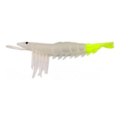 "Almost Alive 6 Pack 3.5"" Soft Shrimp Lures White Yellow Unrigged"