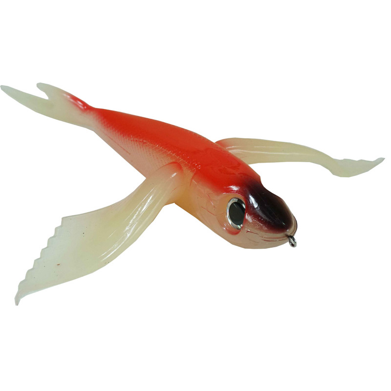 "Almost Alive 10"" Soft Flying Fish Lure Red/Black/Clear Wit"