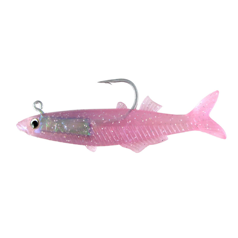 "Almost Alive 3.25"" Soft Rigged Glass Minnow 5 Pack Purple"