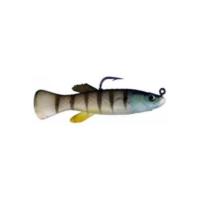 "Artificial Mud Minnow Rigged 2-3/4"" Vertical Stripe 6 Pack - Alm"