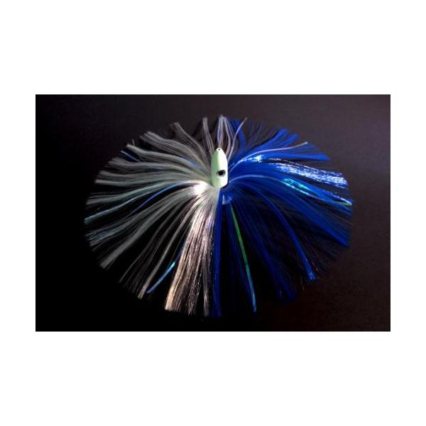 180g Glow Bullet Head With Blue/white Hair With Mylar Flash
