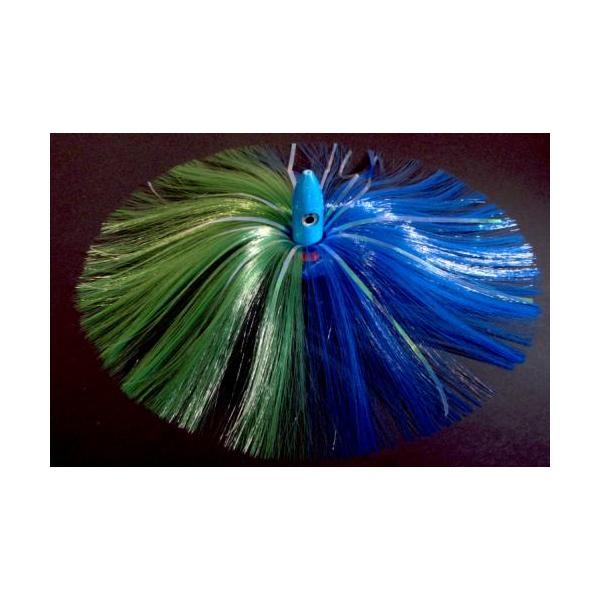 350g Blue Bullet Head With Green/blue Hair With Mylar Flash