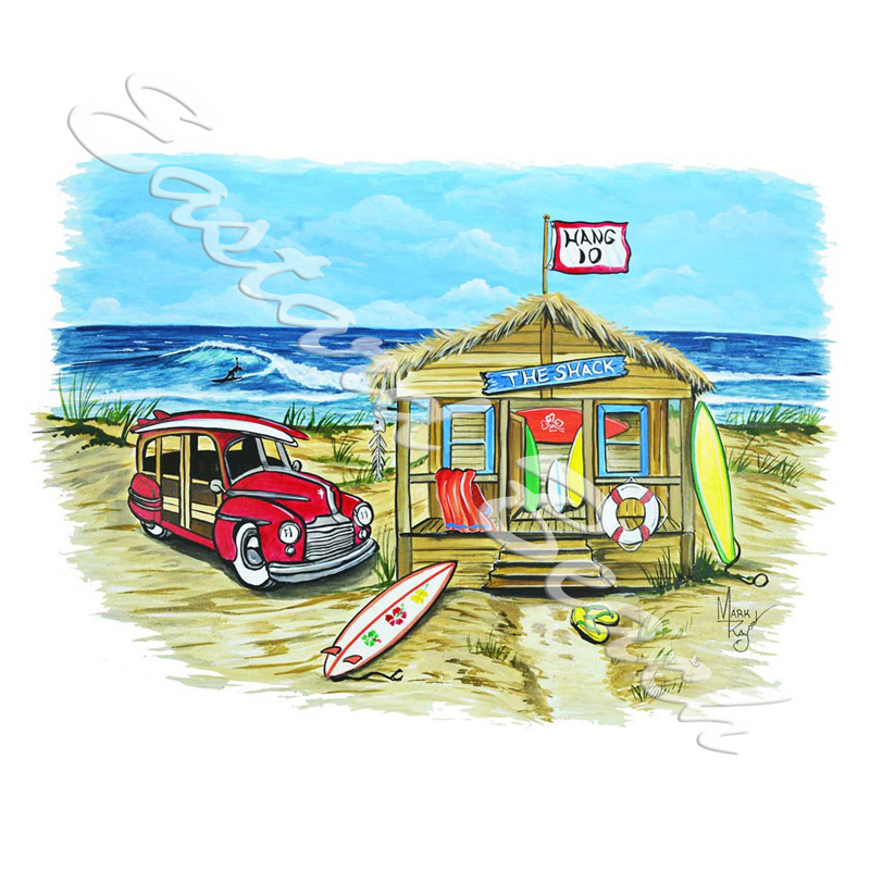 Beach Scene Shack - Printed Vinyl Decal