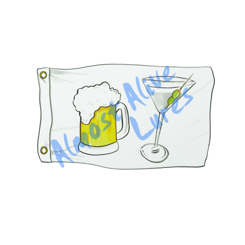 Booze Cruise Flag - Printed Vinyl Decal