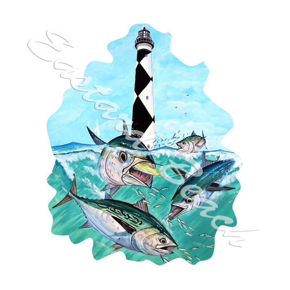 Cape Lookout Light & Tuna - Printed Vinyl Decal