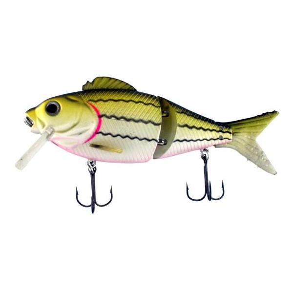 Swim Bait Split Soft Tail 5.5 Inch Yellow White With Black Strip