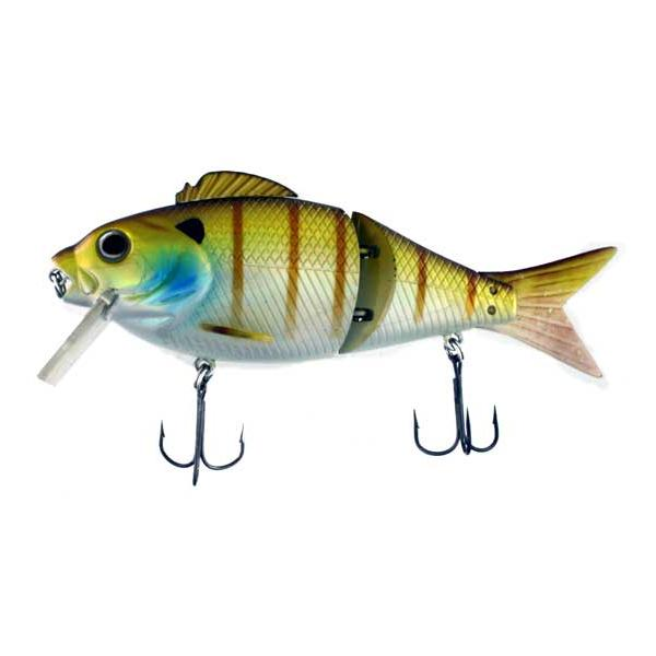 Swim Bait Split Soft Tail 5.5 Inch Yellow White With Vertical St