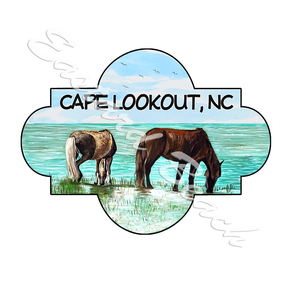 Cape Lookout - Horses Scene