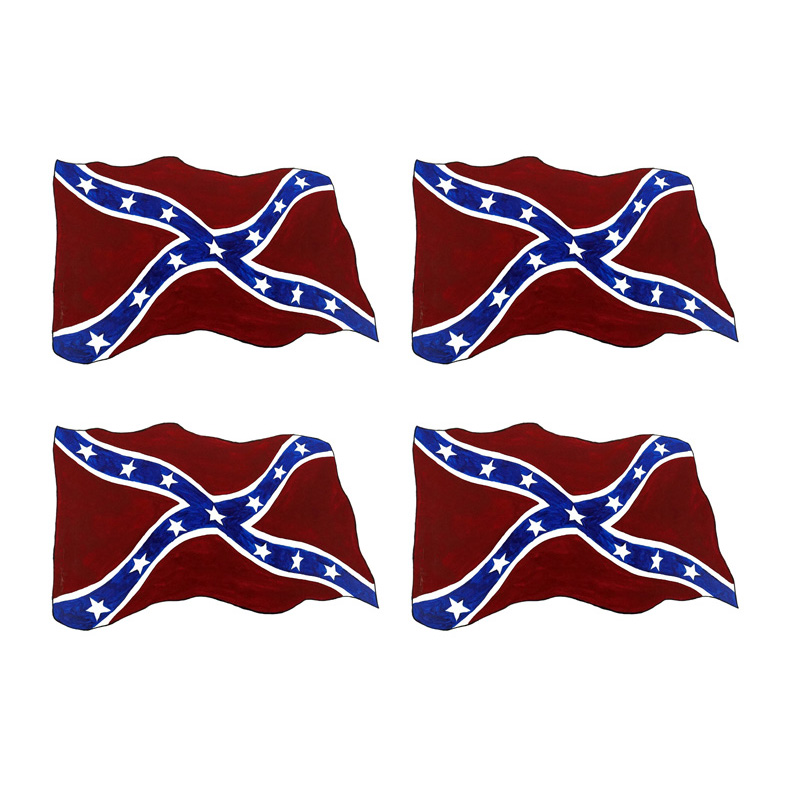 Confederate Flag X 4 - Printed Vinyl Decal
