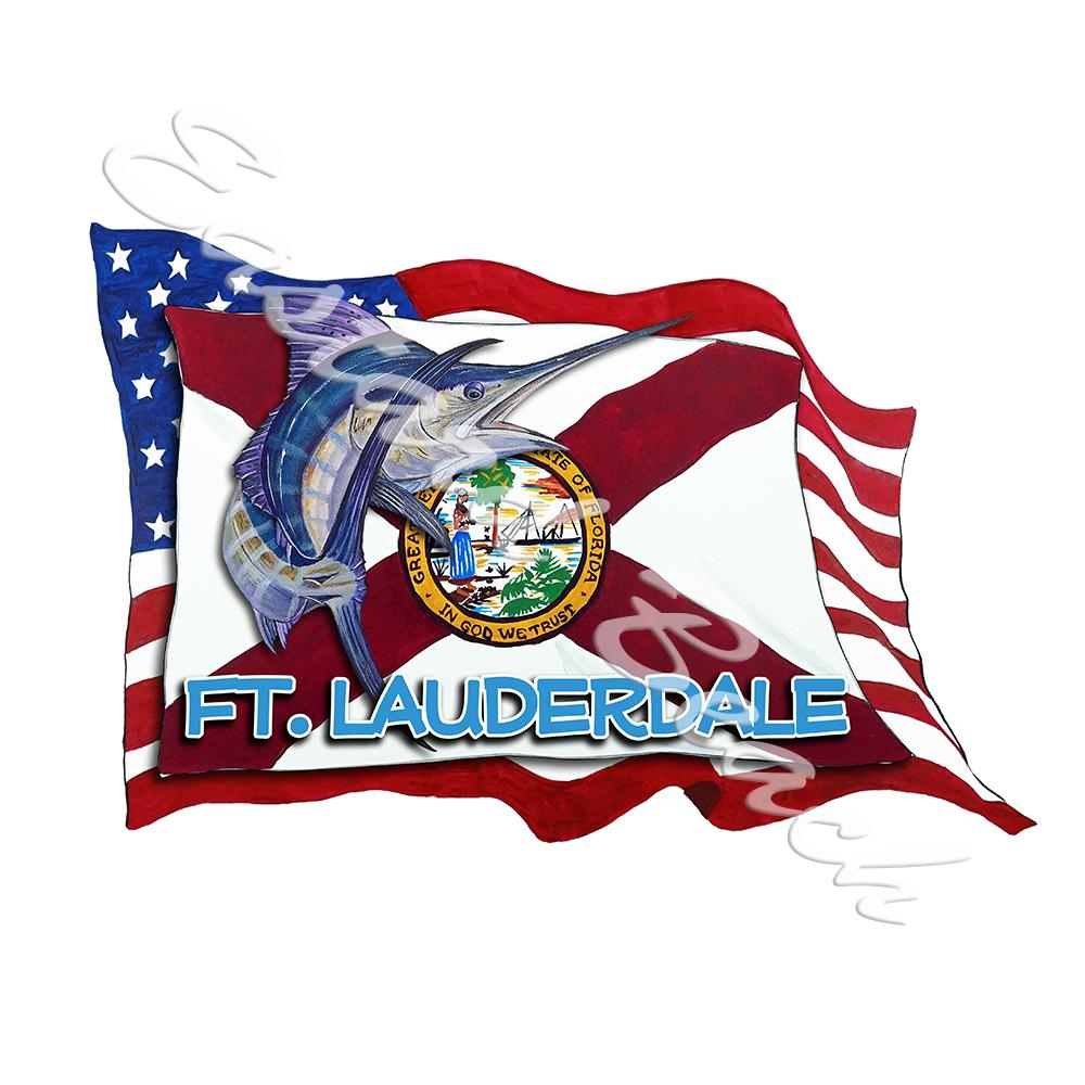 USA/FL Flags w/ Marlin - Ft. Lauderale