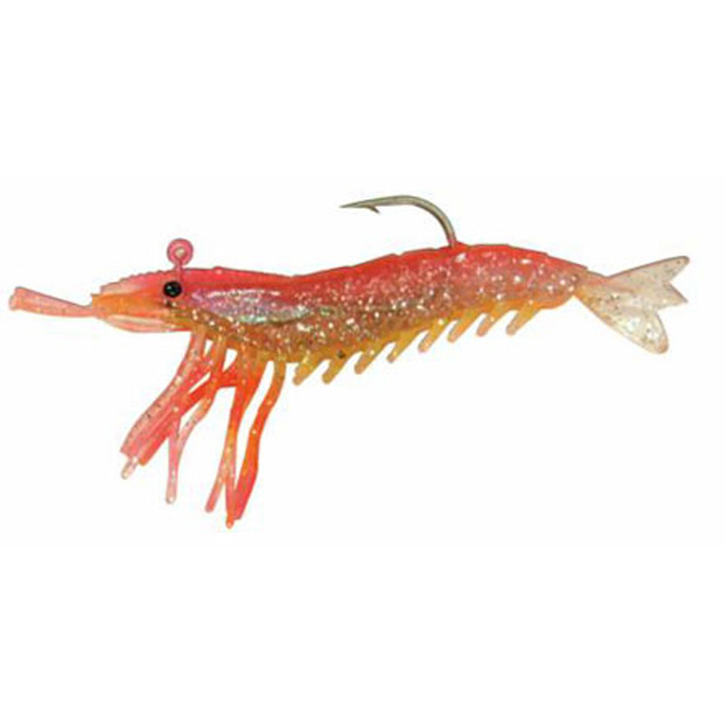 "Almost Alive 6 Pack 3.25"" Shrimp Pink Yellow Rigged & Weighted"