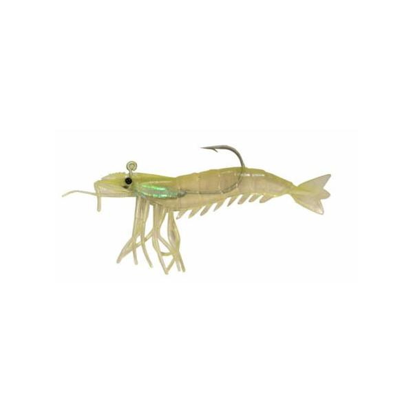 "Almost Alive 6 Pack 3.25"" Shrimp Soft Chartreuse Rigged Weighted"