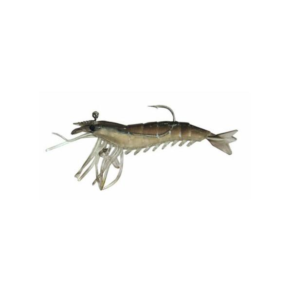 "Almost Alive 6 Pack 3.25"" Soft Shrimp Prawn Lures Black Rigged"