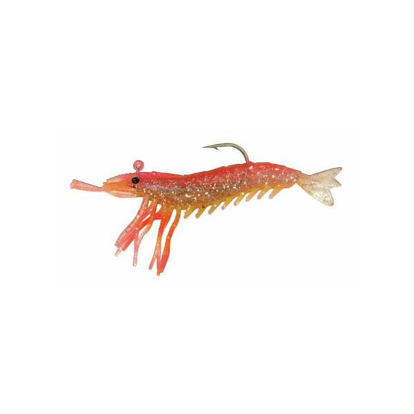 "Almost Alive 3 Pack 3.25"" Shrimp Prawn Lures Pink Yellow Rigged"
