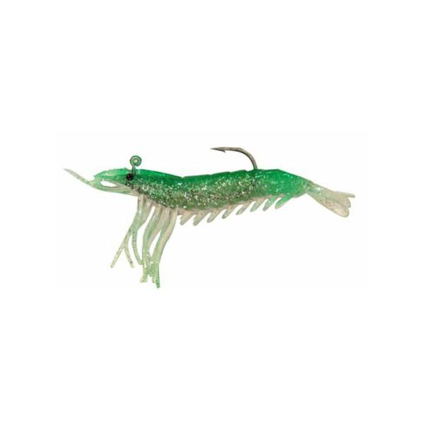 "Almost Alive 3 Pack 3.25"" Soft Shrimp Lures Green Pink Rigged"