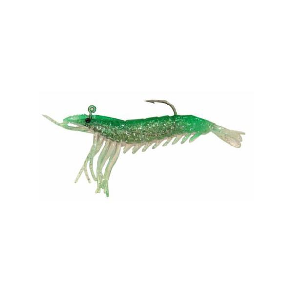 "Almost Alive 6 Pack 3.25"" Soft Shrimp Lures Green Pink Rigged"