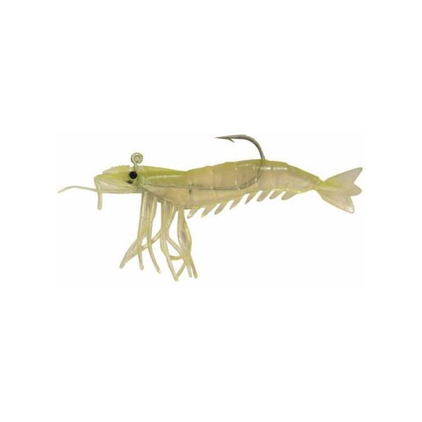 "Almost Alive 6 Pack 3.25"" Shrimp Lures Soft Chartreuse Rigged"