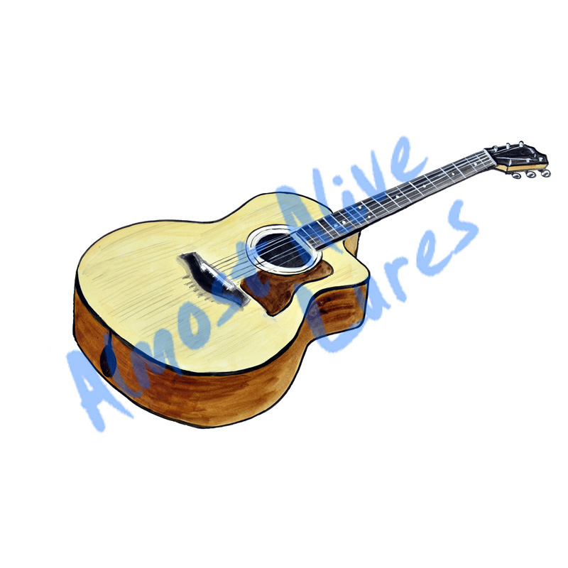 Acoustic Guitar - Printed Vinyl Decal