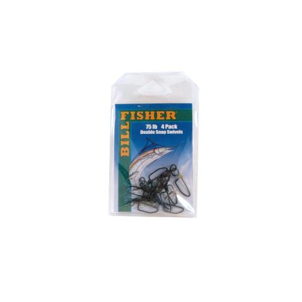 Billfisher Dss75-4pk Dbl Snap Swivel Blk 75lb 4pk