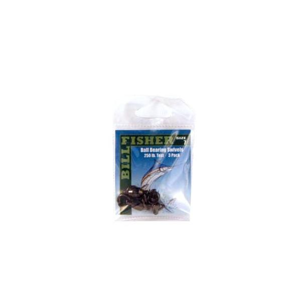 Billfisher Bbs7-3pk Ball Brg Swivel Blk 2-ring 250lb 3pk