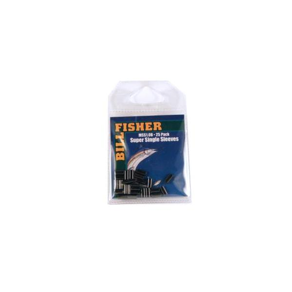 Billfisher Mss1.0b-25 Super Single Sleeve Blk 60-80lb 25pk