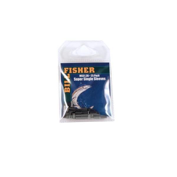 Billfisher Mss1.3b-25 Super Single Sleeve Blk 100-125lb 25pk