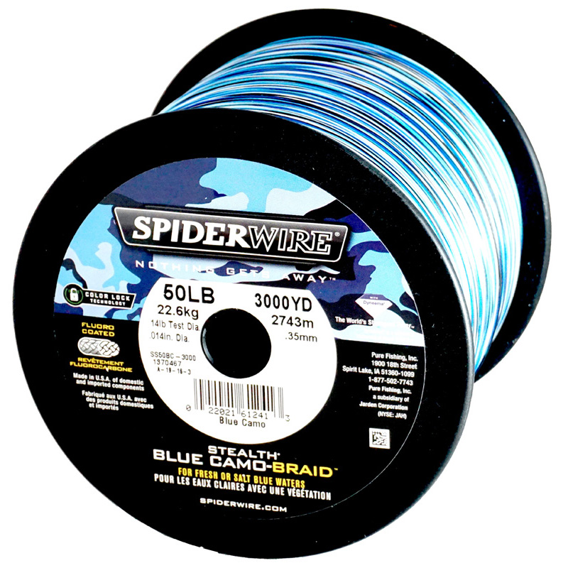 Spiderwire SS50BC-3000 50Lb Stealth Braid Fishing Line Blue Camo