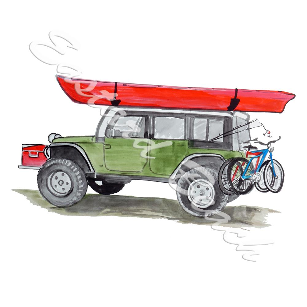 Jeep and Kayak