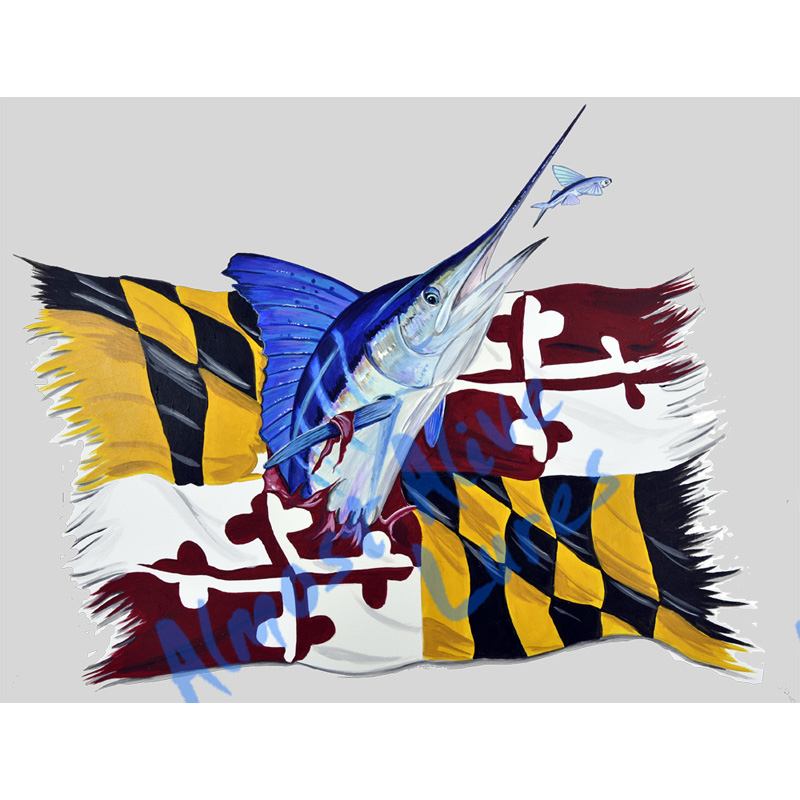 Marlin And Maryland State Flag - Printed Vinyl Decal