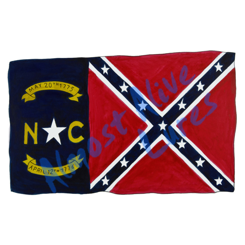 Nc Confederate Battle Flag - Printed Vinyl Decal