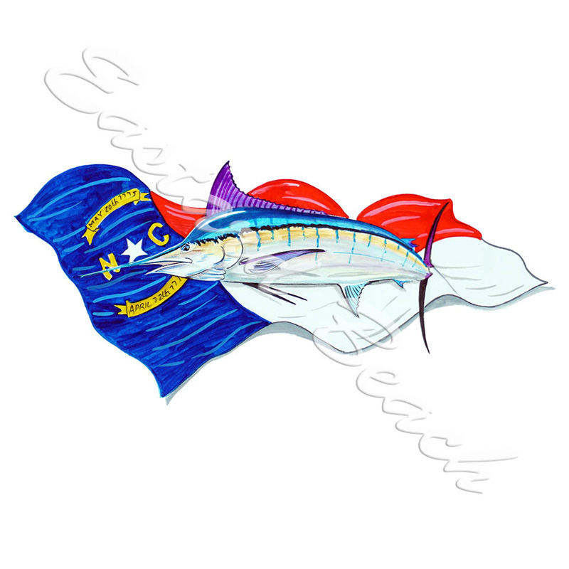 NC Flag & Blue Marlin
