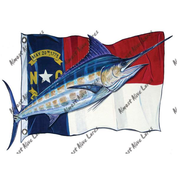 Nc State Flag & Blue Marlin - Printed Vinyl Decal