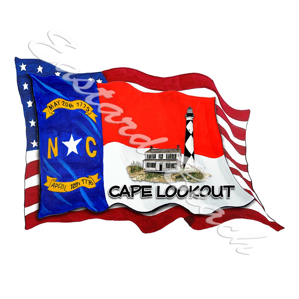 USA/NC Flags w/ Lighthouse - Cape Lookout