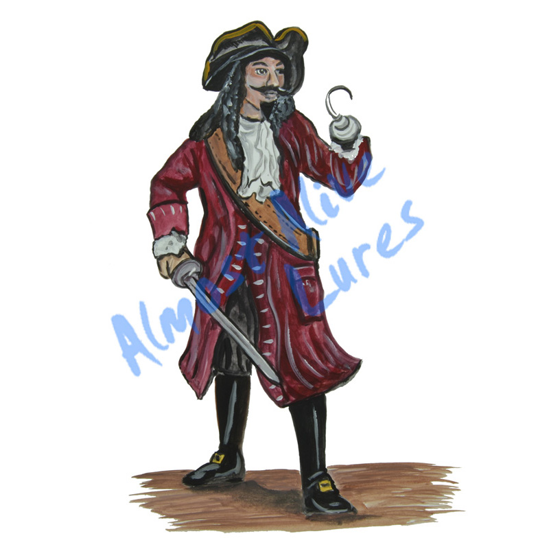 Pirate With Hook - Printed Vinyl Decal
