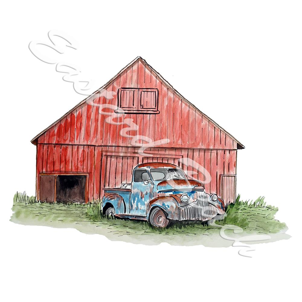 Old Truck and Red Barn