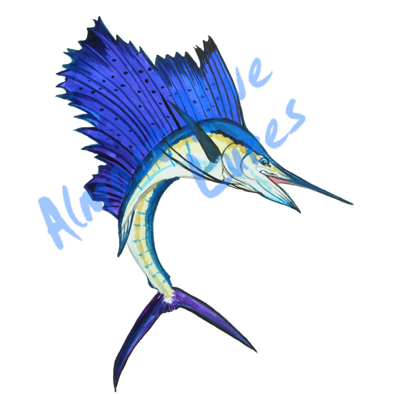 high quality detailed fish sailfish vinyl decal home car truck rv