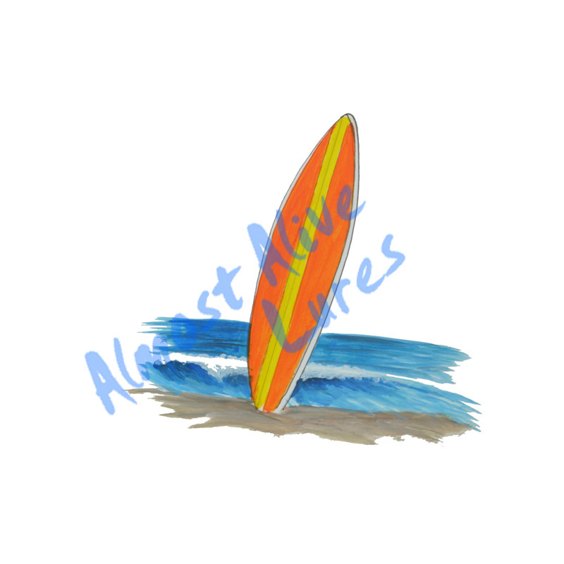 Surfboard In The Sand - Printed Vinyl Decal
