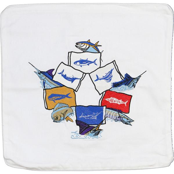 MAHI TUNA MACKEREL MARLIN SAILFISH FLAGS DECORATIVE PILLOW WHITE