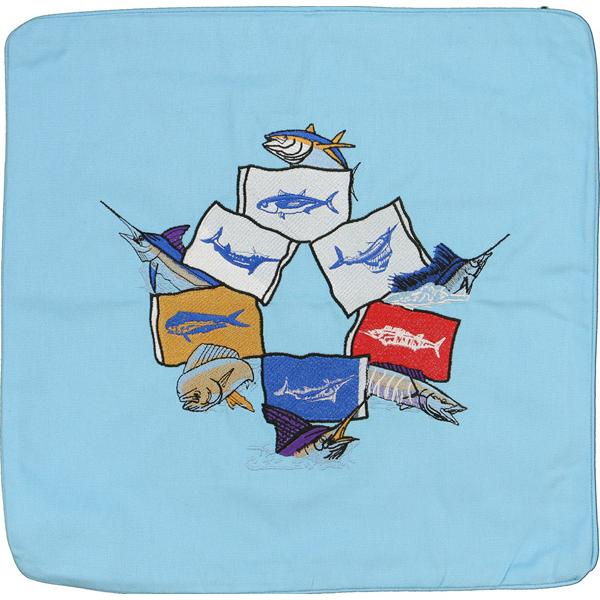 MAHI TUNA MACKEREL MARLIN SAILFISH FLAGS DECORATIVE CUSHION BLUE