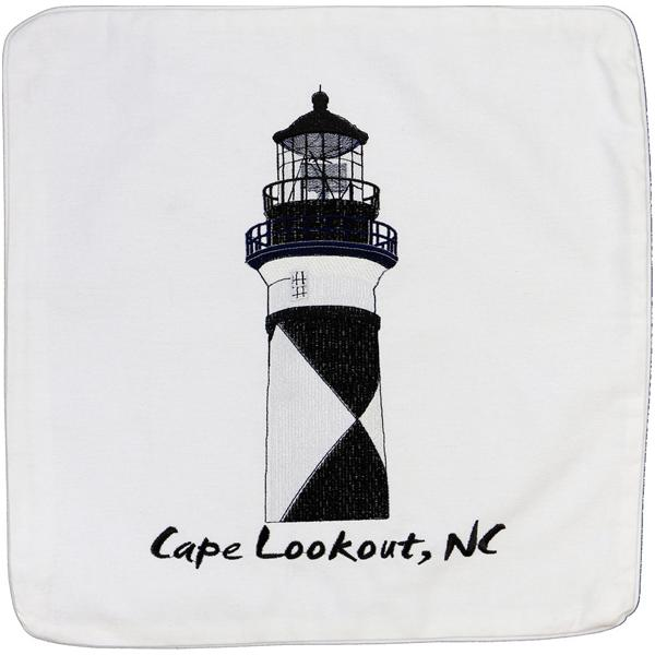 CAPE LOOKOUT LIGHT LIGHTHOUSE HOUSE EMBROIDERED CUSHION WHITE