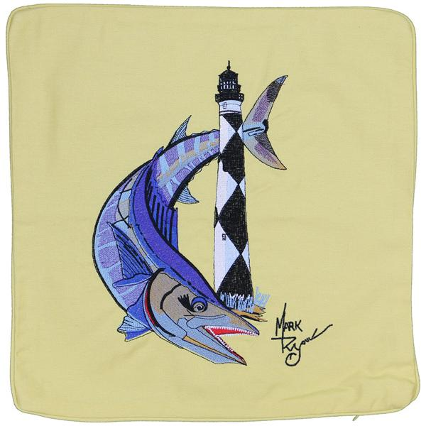 WAHOO CAPE LOOKOUT LIGHT LIGHTHOUSE HOUSE CANVAS CUSHION YELLOW