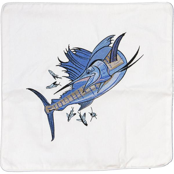 SAILFISH EMBROIDERED DECORATIVE CANVAS PILLOW CUSHION WHITE