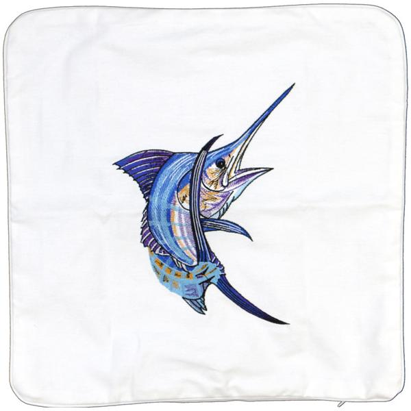 ATLANTIC BLUE MARLIN FISH INDOOR OUTDOOR CANVAS CUSHION WHITE