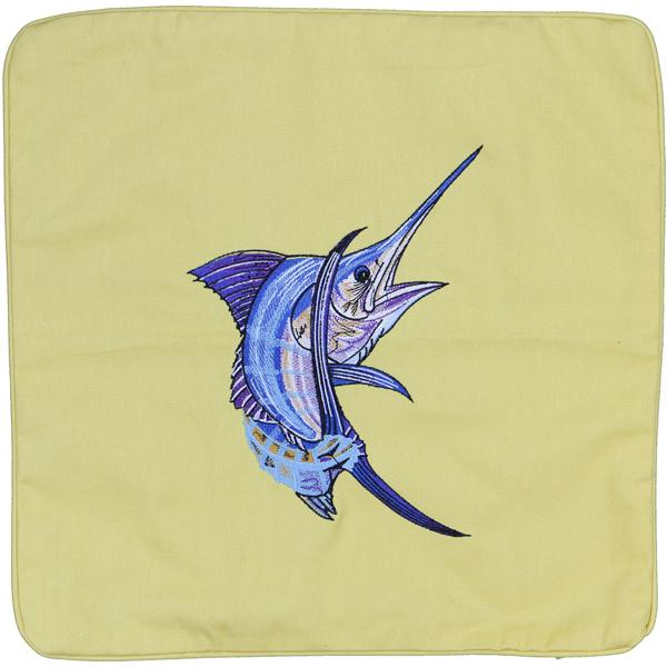 ATLANTIC BLUE MARLIN FISH DECORATIVE THROW PILLOW CUSHION YELLOW