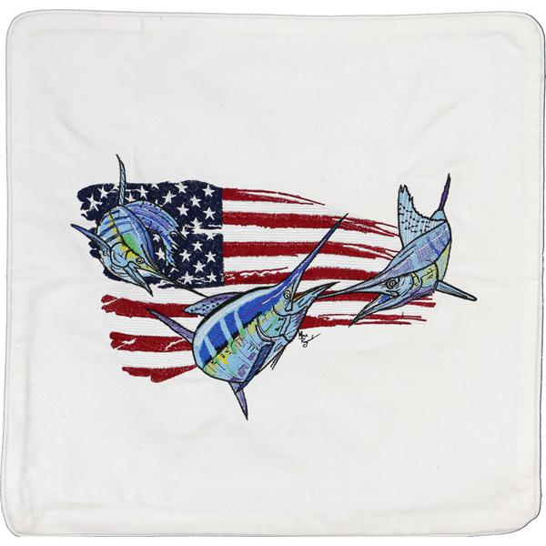 BILLFISH SAILFISH MARLIN FISHING USA FLAG DECOR CUSHION WHITE