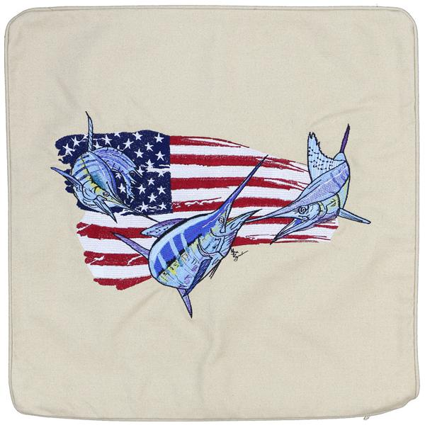 BILLFISH SAILFISH MARLIN FISHING AMERICAN FLAG CUSHION LIGHT TAN