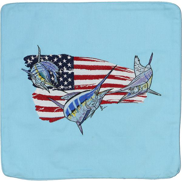 BILLFISH SAILFISH MARLIN FISHING USA FLAG CANVAS CUSHION LT BLUE