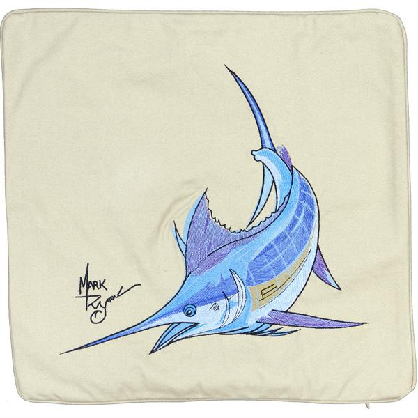 ATLANTIC BLUE MARLIN FISH EMBROIDERED CANVAS PILLOW CUSHION TAN