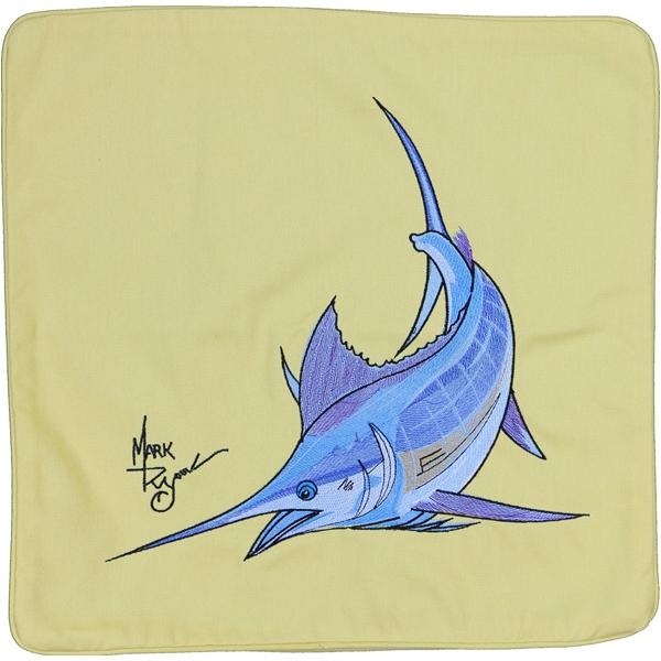ATLANTIC BLUE MARLIN FISH INDOOR OUTDOOR CANVAS CUSHION YELLOW